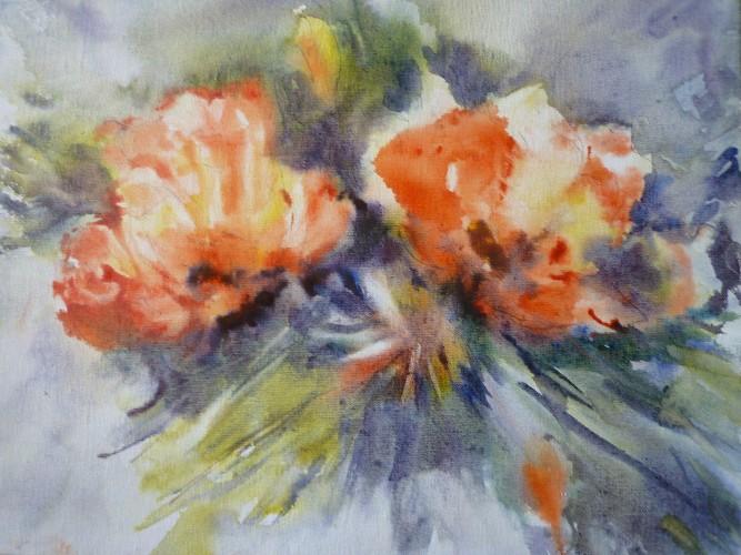 tableau fleurs peinture acrylique