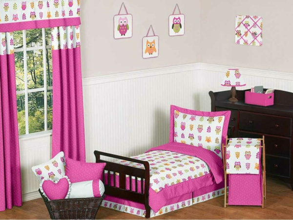 rideau rose chambre fille